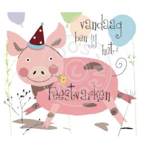 Wenskaart 'Vandaag ben jij het Feestvarken' door Coos Storm