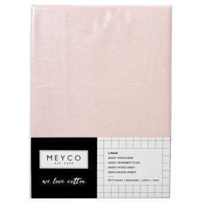 Meyco jersey Hoeslaken 2-Pack Light Pink 60x120 cm