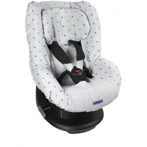 Dooky Seat Cover 1+ Autostoelhoes Light Grey Crowns