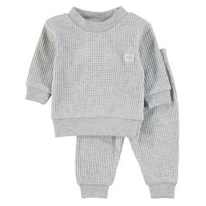 Feetje Childrens Pyjamas Waffle Grey Melange