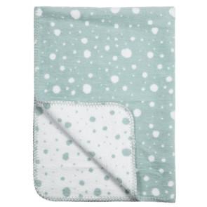 Meyco Crib Blanket Dots Stone Green - White