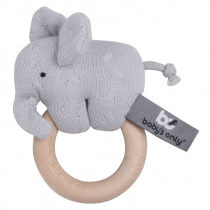 Baby's Only Wooden Rattle Elephant Silver Gray