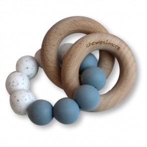 Basic Rattle Dusty Bleu / Wit Gritt