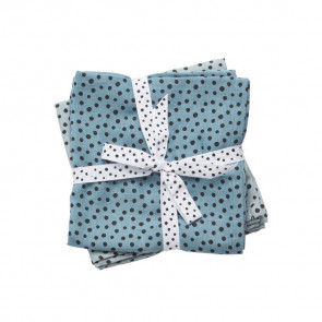 Burp Cloth 2-pack Happy Dots Blue