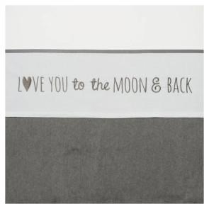Meyco Crib Blanket Love You to the Moon & Back Grey