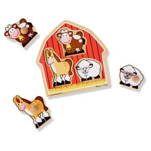 Melissa & Doug Wooden Puzzle with Knobs Barnyard Animals