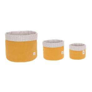 Laessig Storage Basket Set 3 pcs Muslin Mustard, 100% Organic Cotton