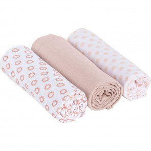 Laessig Hydrofiel Swaddle & Burp Blanket Little Chums Stars Light Pink 3st 80x80cm