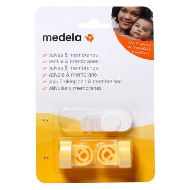 Medela Vacuümset 2 Mal Ventilkörper und 6 Mal Weiß Membran