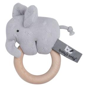 Baby's Only Holzrassel Elefant Silbergrau