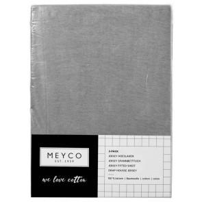Meyco Jersey Spannbettlaken 2-Pack Grey 40x80/90 cm