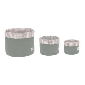 Laessig Storage Basket Set 3 pcs Muslin Green, 100% Organic Cotton