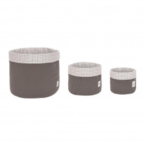 Laessig Storage Basket Set 3 pcs Muslin Anthracite, 100% Organic Cotton